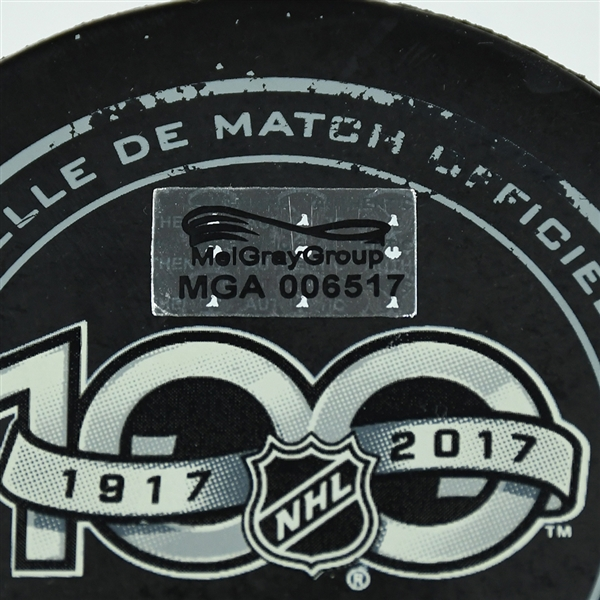 Matt Calvert - Columbus Blue Jackets - Goal Puck - October 21, 2017 vs. Los Angeles Kings (Blue Jackets Logo)