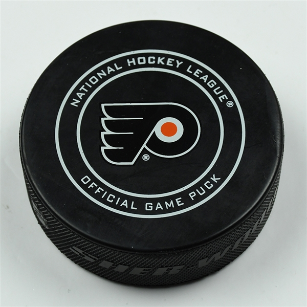 Brayden Point - Tampa Bay Lightning - Goal Puck - January 25, 2018 vs. Philadelphia Flyers (Flyers Logo)