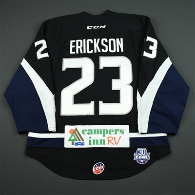 Josh Erickson - Jacksonville Icemen - 2017-18 Regular Season Game-Worn Black Jersey