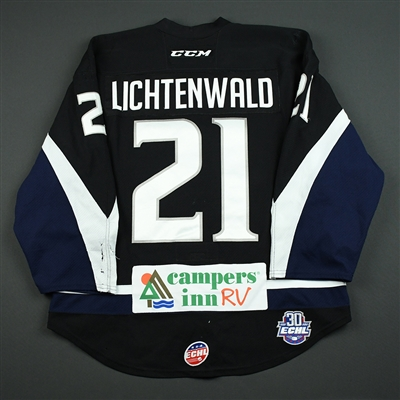 Eli Lichtenwald - Jacksonville Icemen - 2017-18 Regular Season Game-Worn Black Jersey