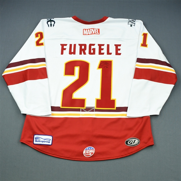 John Furgele - Maine Mariners - 2018-19 MARVEL Super Hero Night - Game-Worn Autographed Jersey and Socks