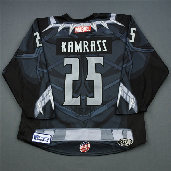 Jake Kamrass - Fort Wayne Komets - 2018-19 MARVEL Super Hero Night - Game-Worn Jersey and Socks