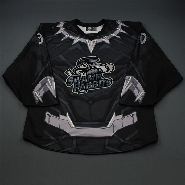 Kyle Hayton - Black Panther - 2018-19 MARVEL Super Hero Night - Game-Worn Back-up Only Autographed Jersey