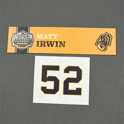 Matt Irwin - 2020 NHL Winter Classic - Game-Used Name & Number Plate