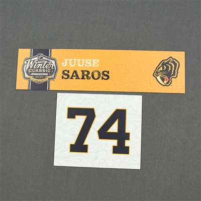 Juuse Saros - 2020 NHL Winter Classic - Game-Used Name & Number Plate