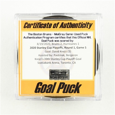 David Krejci - Bruins - Goal Puck - Aug. 19, 2020 vs. Hurricanes (Bruins Logo) - 2020 Stanley Cup Playoffs - Round 1, Game 5