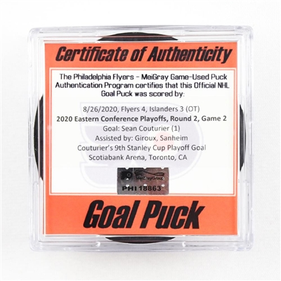 Sean Couturier - Flyers - Goal Puck - Aug. 26, 2020 vs. Islanders (Flyers Logo) - 2020 Stanley Cup Playoffs - Round 2, Game 2