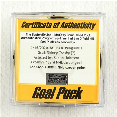 Sidney Crosby - Penguins - Goal Puck - Jan. 16, 2020 vs. Bruins (Bruins Logo) - Jack Johnsons 300th NHL Career Point