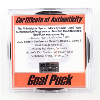Claude Giroux - Flyers - Goal Puck - Sept. 1, 2020 vs. Islanders (Flyers Logo) - 2020 Stanley Cup Playoffs - Round 2, Game 5