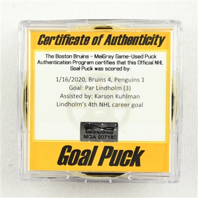 Par Lindholm - Bruins - Goal Puck - January 16, 2020 vs. Pittsburgh Penguins (Bruins Logo)