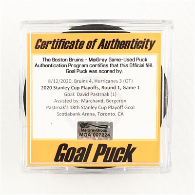 David Pastrnak - Bruins - Goal Puck - Aug. 12, 2020 vs. Hurricanes (Bruins Logo) - 2020 Stanley Cup Playoffs - Round 1, Game 1