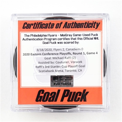 Michael Raffl - Flyers - Goal Puck - Aug. 18, 2020 vs. Canadiens (Canadiens Logo) - 2020 Stanley Cup Playoffs - Round 1, Game 4