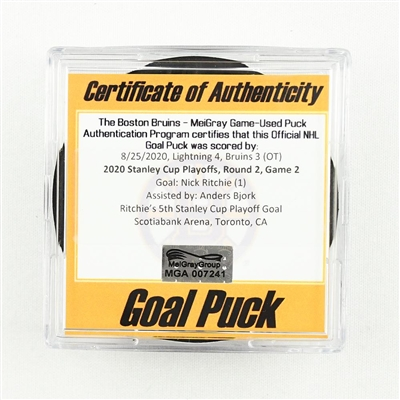 Nick Ritchie - Bruins - Goal Puck - Aug. 25, 2020 vs. Lightning (Lightning Logo) - 2020 Stanley Cup Playoffs - Round 2, Game 2 - Anders Bjork 1st Career Playoff Point